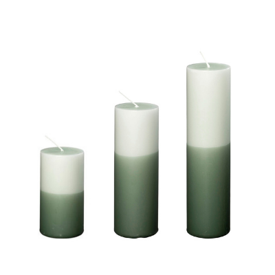 2-farvede Bloklys I Antik/dyb Grøn, Ø5 Cm