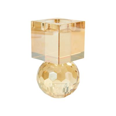 Cleo Krystal Fyrfads- Og Lysestage – Amber, 7×12 Cm