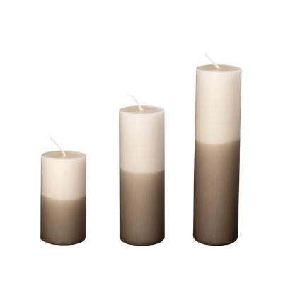 2-farvede Bloklys I Hør/gråbrun, Ø5 Cm