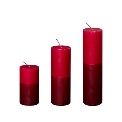 2-farvede Bloklys I Mørk Rød/aubergine, Ø5 Cm